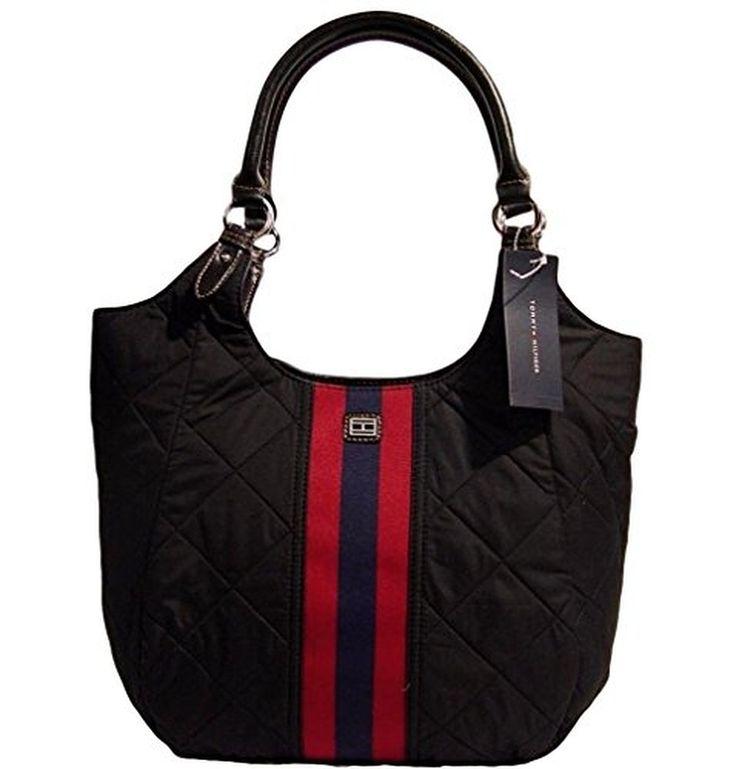 Women's Tommy Hilfiger Quilted Large Tote Bag Handbag Purse (Black)