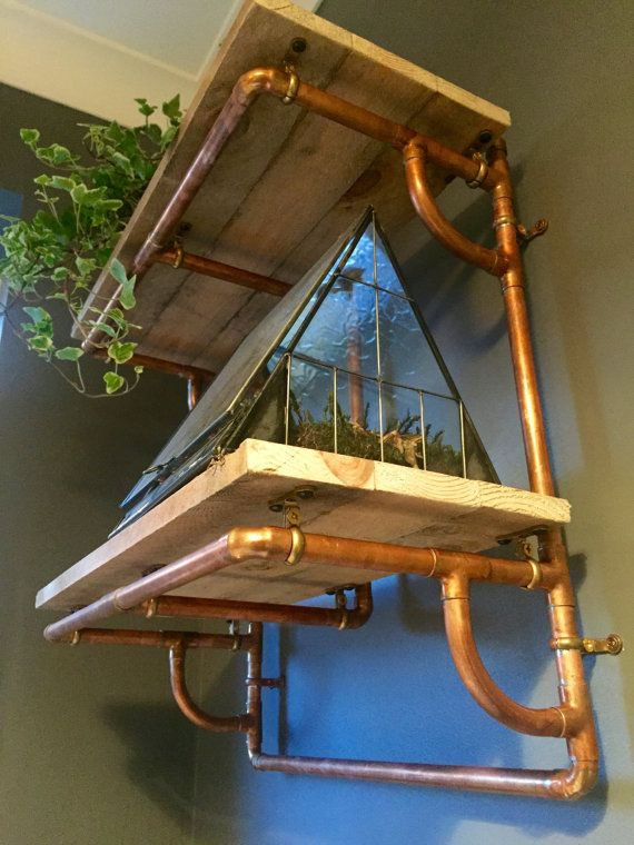 Industrial Copper Pipe and Reclaimed Wood Shelving - 2 Shelves - Looks Great with Urban Style Vintage Decor - Plank & Pipe