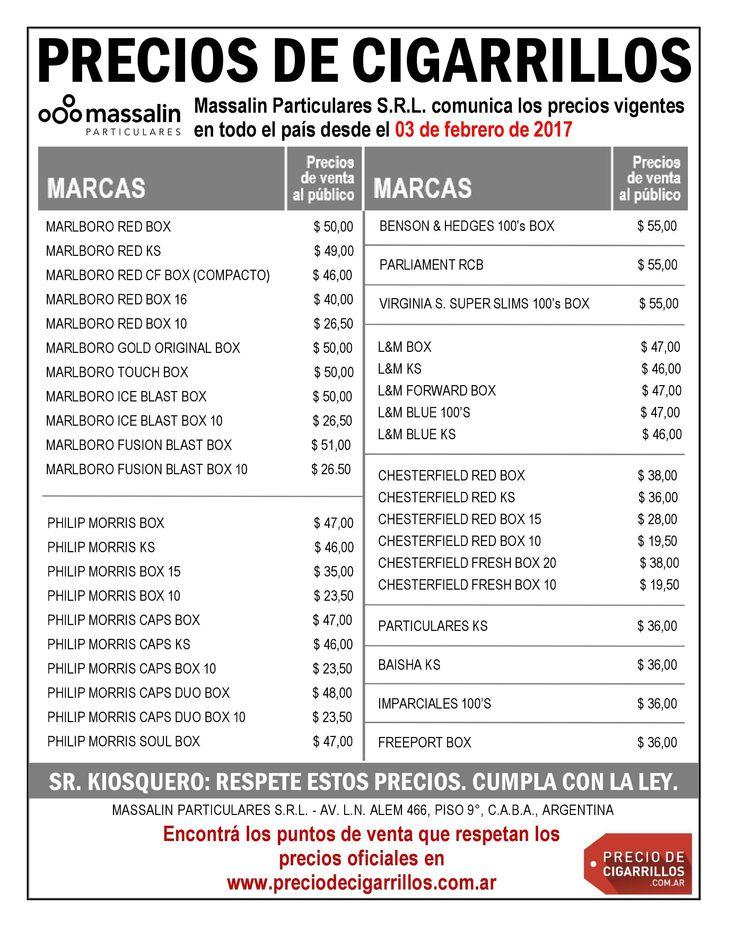 CONFIRMADO: Lista de precios de cigarrillos Massalin Particulares 3 de febrero de 2017
