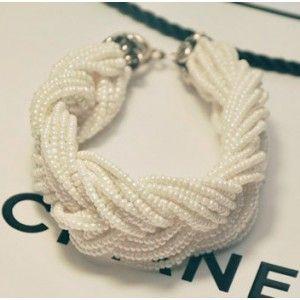 White Twist Biker Pearl Bracelet Cuff Bangle Wide Wristband