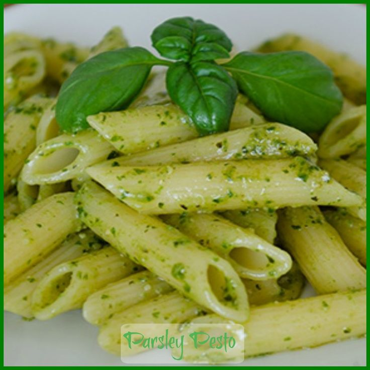 This nut free parsley pesto sauce is great for adding to pasta or risotto.