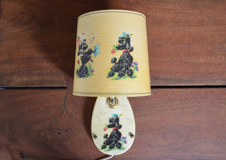 Vintage Black Poodle Wall Light, illustrated mid century dogs, mid century kitsch lamp nursery by Trashtiques on Etsy https://www.etsy.com/ca/listing/398232923/vintage-black-poodle-wall-light