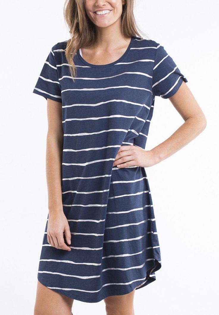 elm - Shimmer Stripe Short Sleeved Dress In Navy