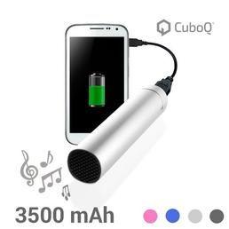 Le fabuleux chargeur de batterie USB avec haut-parleur CuboQ 3500 mAh vous permettra de recharger votre téléphone portable ou votre smartphone où que vous soyez et à n'importe quel moment !
