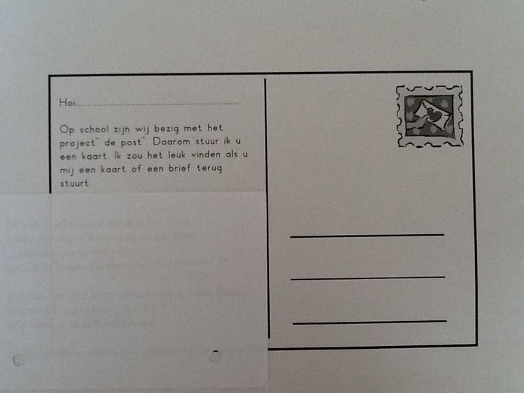 Elk kind kiest een kaart uit. Je vult daarna op de achterkant deze info in en vraagt aan de kinderen het adres van het familielid, vriendje naar wie ze een kaartje willen sturen. Daarna ga je met de gehele klas alle kaartjes posten bij de brievenbus.