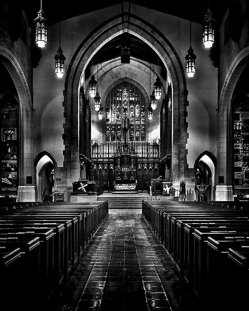 Interior of The Metropolitan United Church at No 56 Queen St E in Toronto Canada. View from the entrance way to the church on the south end ...