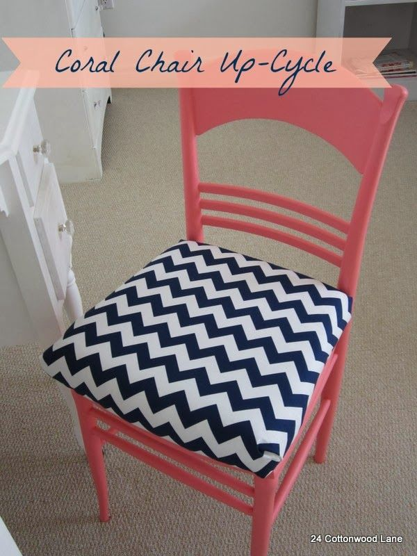 24 Cottonwood Lane: Coral Chair Up-Cycle and Seat Cover Tutorial
