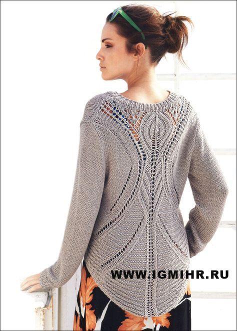 Классический серо-коричневый пуловер с V-образным вырезом и очень эффектной спинкой. Спицы