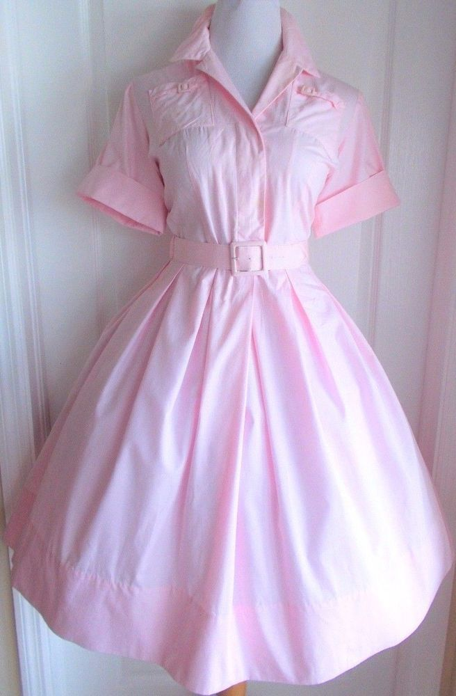 vintage 50s light pink unique pocket classic shirtwaist dress full skirt lucy    Clothing, Shoes & Accessories, Vintage, Women's Vintage Clothing   eBay!