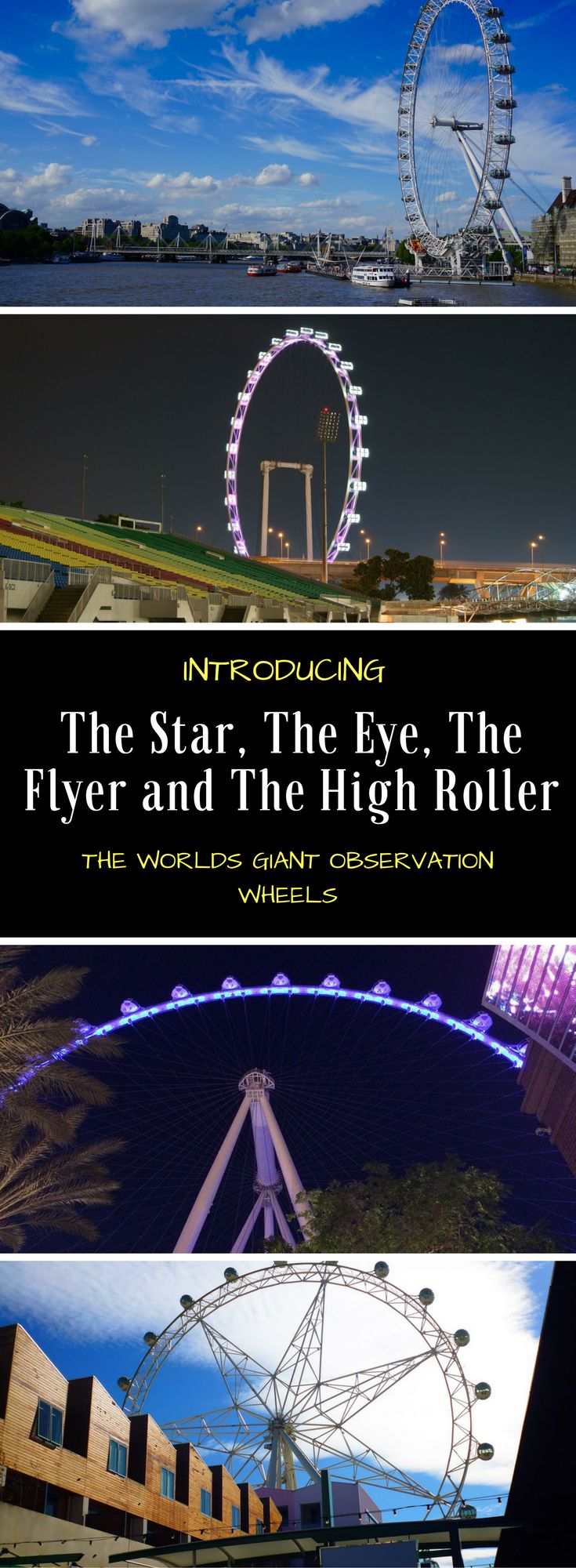 These 4 wheels all represent a new classification called Giant Observation Wheels. No longer is a Ferris Wheel just a Ferris wheel. The Star, Flyer, Eye and High Roller have become their own category.  #Melbournestar #londoneye #singaporeflyer #lasvegashighroller #ferriswheel #observationwheel #familytravel #londonattractions #singaporeattractions #melbourneattractions #lasvegasattraction