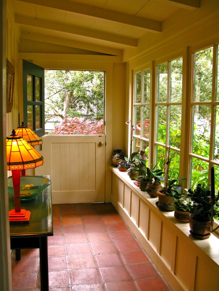 Phantasy Enclosed Porch Views And Designs: Delightful Green Plants Pottery  On Windows