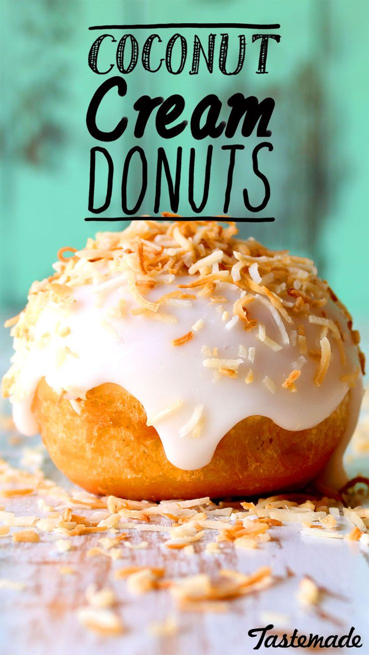 Coconut cream filled donuts with a donut glaze and toasted coconut on top!