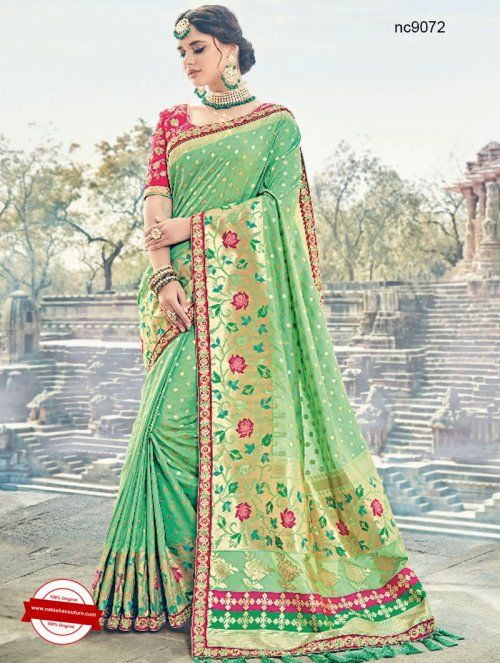 Green Silk Wedding Saree   Shop for sarees online at www.natashacouture.com   ❤️ Call / WhatsApp / Viber : +91-9052526627   Free Shipping in India   COD*   Worldwide Shipping   Authentic Quality Guaranteed ❤️