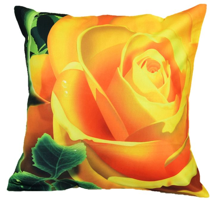 Painted Yellow Rose Cushion cover (16x16)  #cushions #cushioncovers #pinit #pinterset #shazliving #interior #homedecor Shop at: https://www.shazliving.com/