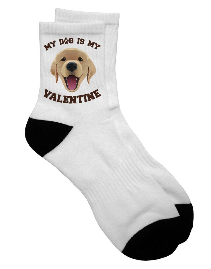 TooLoud My Dog is my Valentine Gold Yellow Adult Short Socks