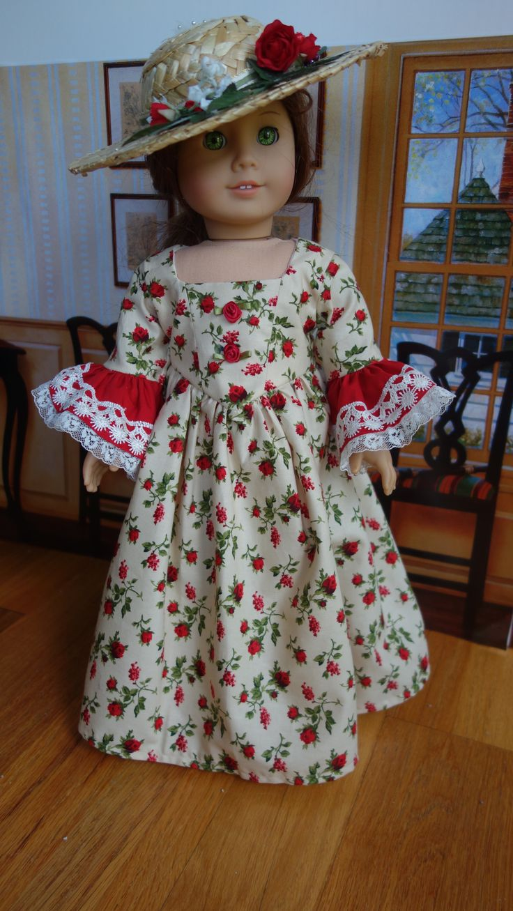"""Homemade 18"""" American Girl doll clothes for Felicity - historical colonial dress with Marie Antoinette sleeves and Bergere Straw hat with red roses.  Carpatina pattern."""