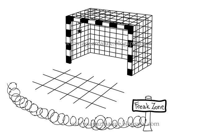 bramka,  6m, freak zone, comfort zone, piłka ręczna, piłka nożna, pająk, agazmaluje, blog rysunekowy, obraek, ilustracja, cienkopis, akwarela, prezen