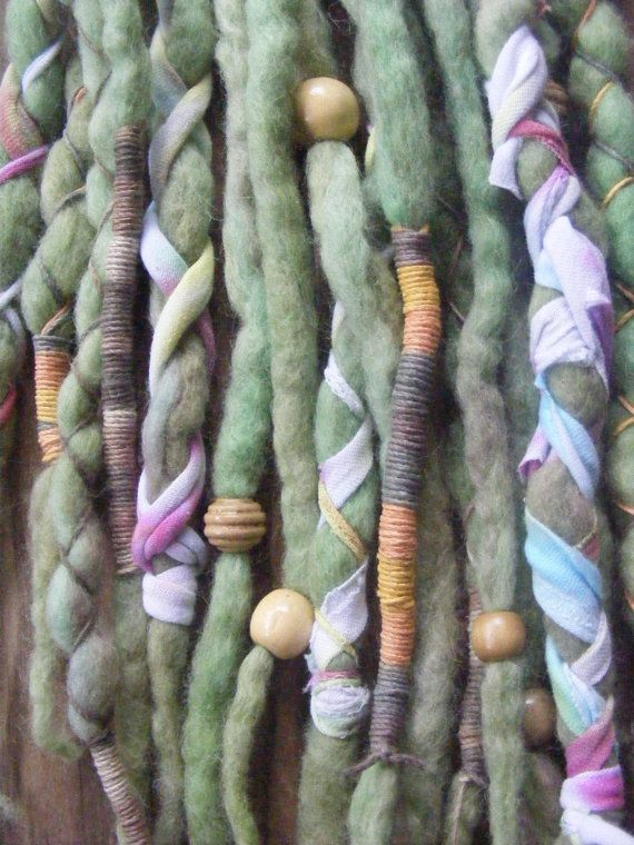 @: Wool Dreads with t shirt ribbon, beads & string