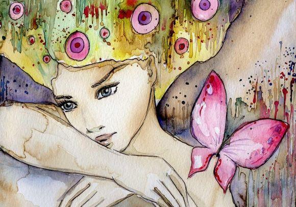 Färgglada tavlor med fjärilar och blommor