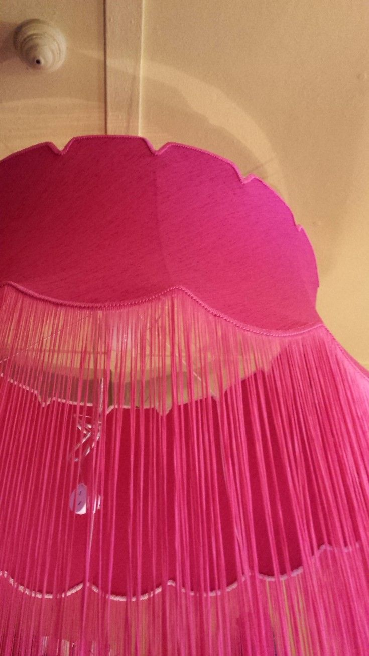 Shady Monster - Monster Shade. A huge pink, tasseled shade, measures 100cms wide x 101 cms from top to bottom of tasseling. Has a plug/cord fitting so can be used anywhere, hang it from a tree for the bbq, it the marque for the wedding,or in the high studded house.