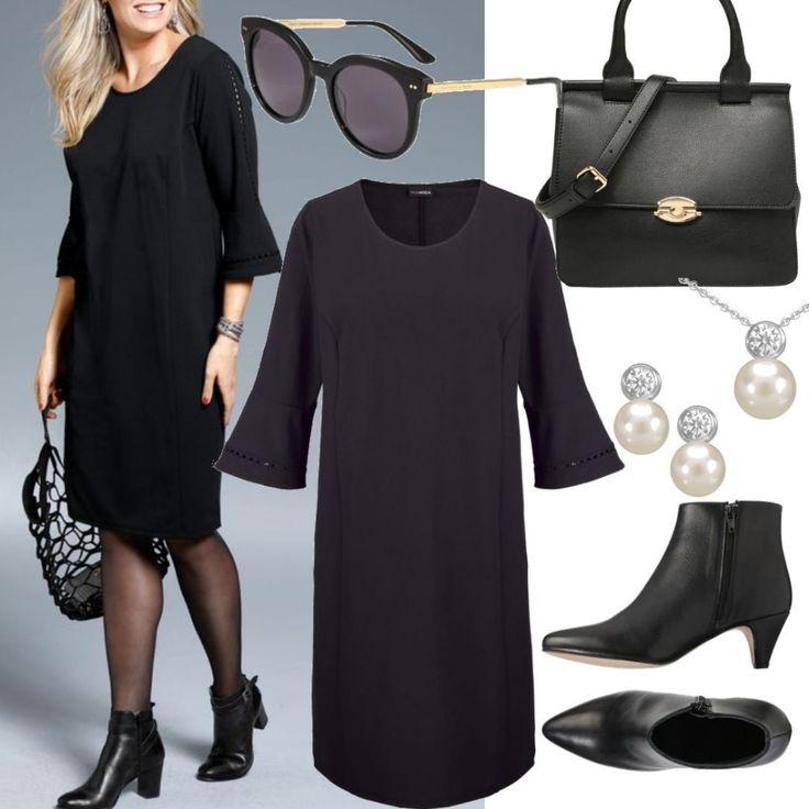 Große Größen Kleid Schwarz für Damen zum Nachs…