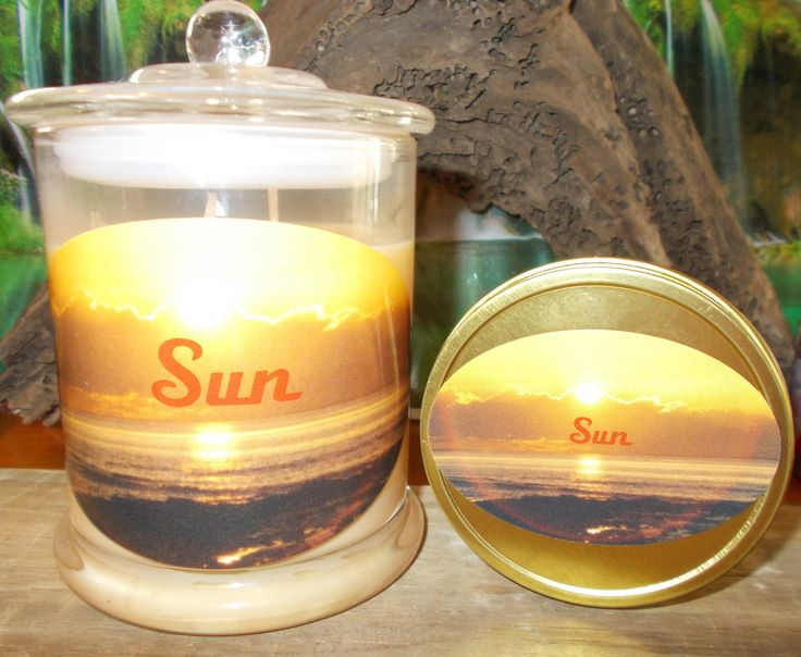 Sun Hand poured 100% Natural Eco Soy Candle with love. Bring more sunshine and positive events into your life Glass Jar or travel tin
