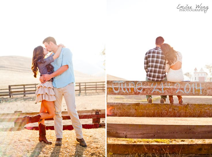 Rustic country engagement photos save the date on fence
