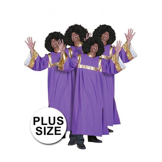 Grote maat gospel verkleedkleding  Grote maten gospel zanger kostuum voor heren bestaande uit een lange paarse jurk met gouden banden. Deze Gospel kleding kunt u voor een heel gospel koor bestellen. Ook de bijpassende afropruiken leveren wij uit voorraad en kunt u los mee bestellen.  EUR 42.95  Meer informatie