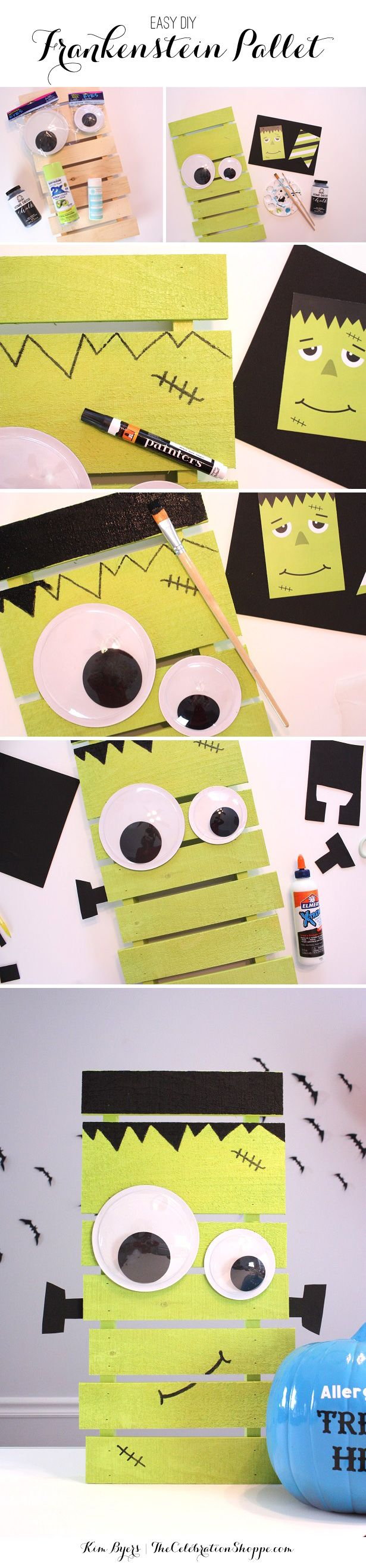 How To Make A Pallet Frankenstein Decoration - perfect for your Halloween Entry or Front Porch Decor! | Kim Byers