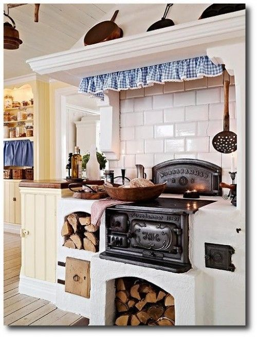 Swedish Interiors, Rustic Swedish Country Stove in the kitchen