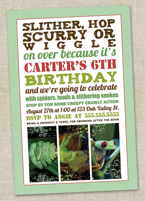 Reptile Birthday Party Invitation Invite - Snake Lizard Frog Alligator (Printable Digital File) - etsy