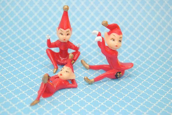 Retro Inspired Red Christmas Pixies Toppers 3 by DashandDollop, $3.75