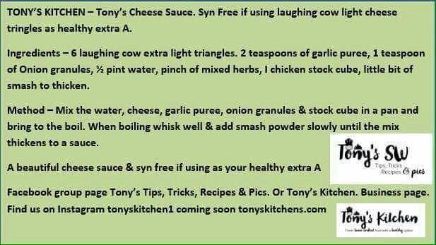 Tonys syn free cheese sauce