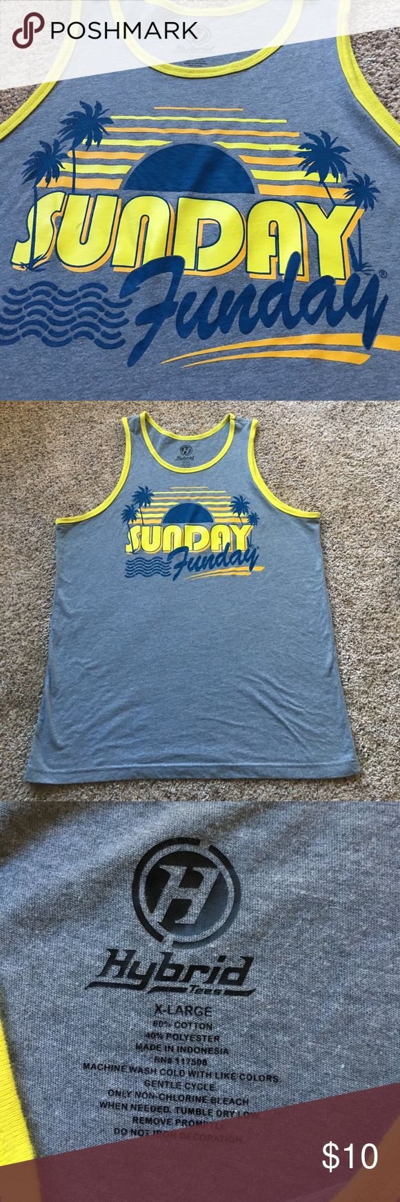 Sunday Funday Men's Muscle Tank The gray of this tank is more of a gray-blue color. Size XL, would also fit a Large. Show off your guns, dudes! Ladies interested: will fit an XL & XXL but will be baggy. Cute with leggings & a bralette or bandeau! Hybrid Tees Shirts Tank Tops