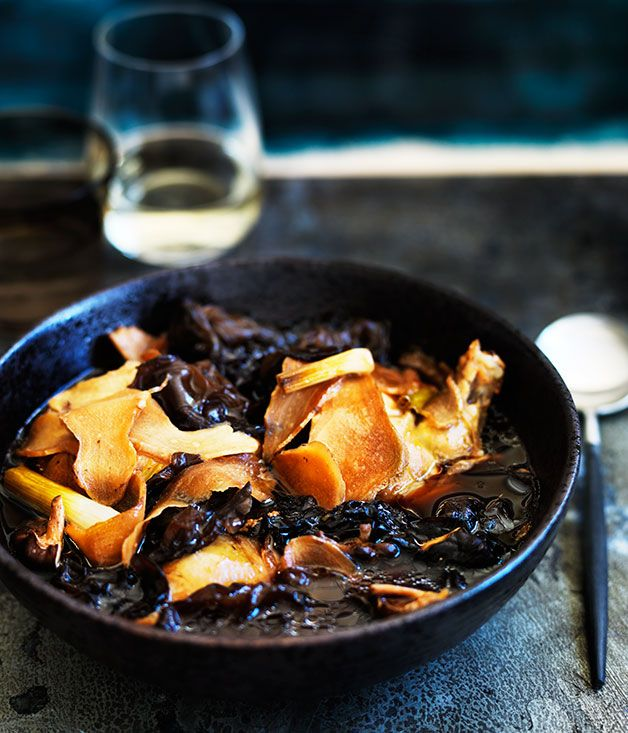 Warming winter dish with mushrooms and an Asian twist
