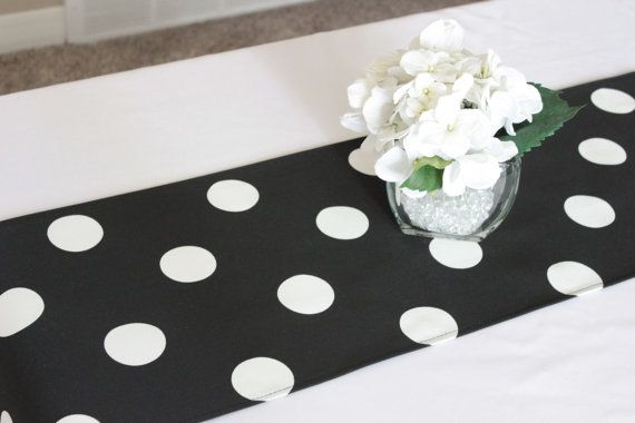 Black and white polka dot table runner, Choose length,Mickey Mouse birthday, First birthday, Wedding table runner, Birthday party decoration