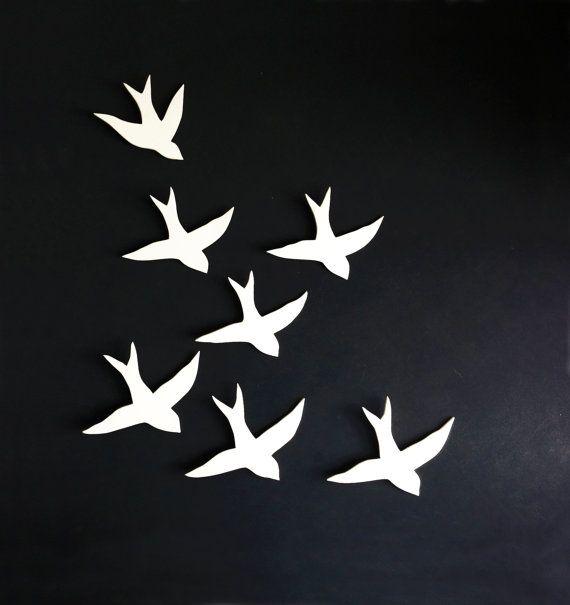 Herde von Wandkunst schluckt Porzellan Vogelwand von PrinceDesignUK   – Inrichting