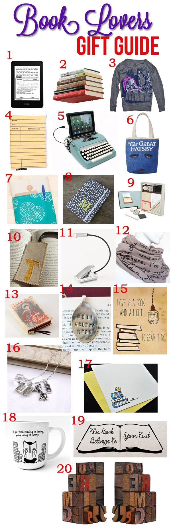 A little reminder... Gift Guide for Book Lovers via pinkheelspinktruck.com