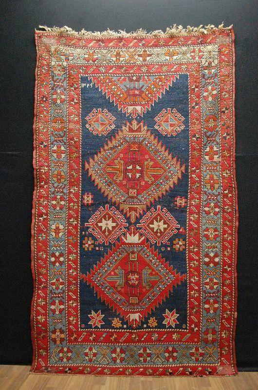 antico kasak kaukasien misure 210x120cm rug handrug tapis ebay - Tapis Color Fly