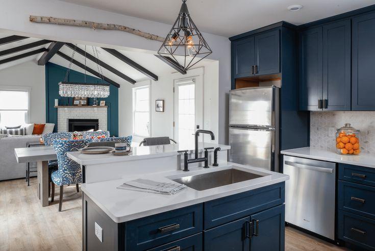 Best Kitchen Trend Navy Blue Cabinets Open Kitchen Living 640 x 480