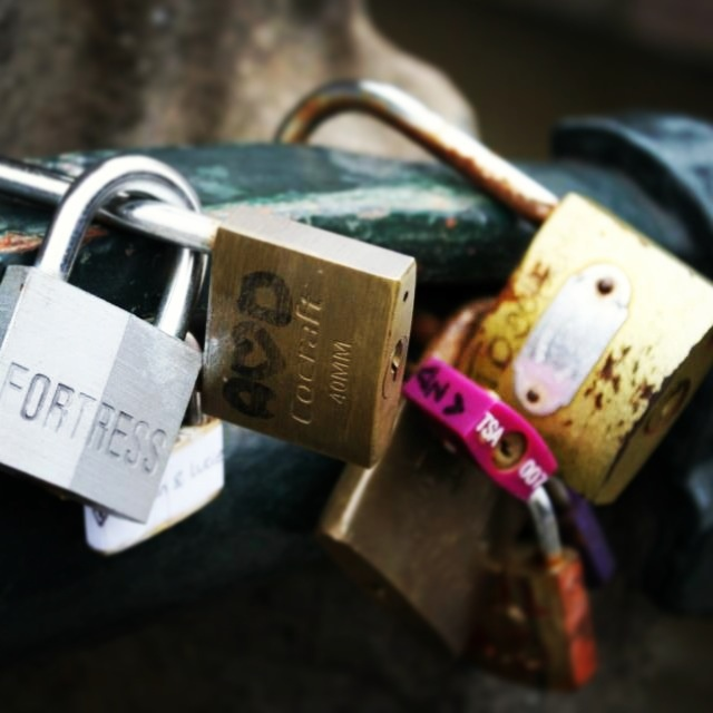Love lock bridge in Amsterdam