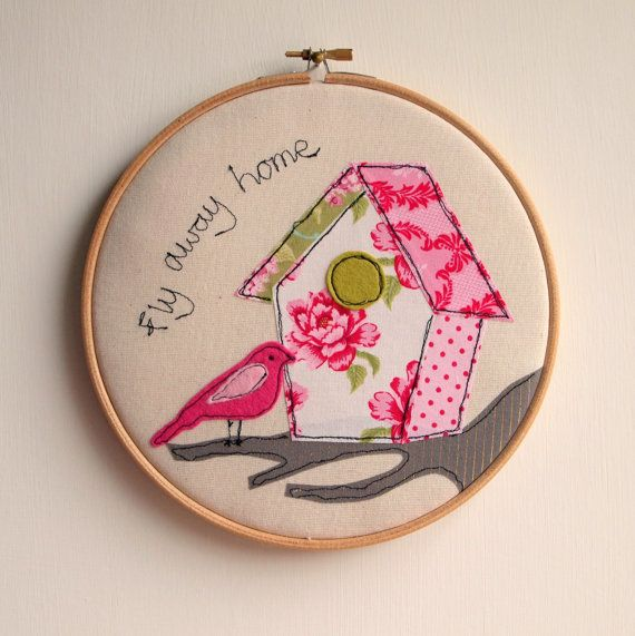 Pink Birdhouse Embroidery Hoop Artwork by rachelandgeorge on Etsy