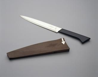 97/125/1 Knife and scabbard, Wiltshire Staysharp MKI, metal/plastic, designed by Stuart Devlin, made by Wiltshire Cutlery Company, Melbourne...