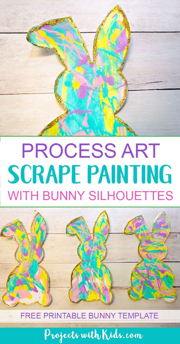Scrape painting is a super fun process art activity that kids will love! Use beautiful spring colors to make these bunny silhouettes that are the perfect art project for spring or Easter. Edge them in gold glitter for an extra special touch!