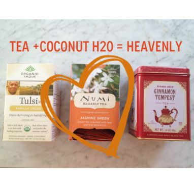 Sarah's Fall Favorites: The Short List: Awesome Teas + Coconut Water Are A Match Made In Heaven. Try it! And see other great tips for Fall here!   #realfood #healthy #greentea #coconutwater #healthytips