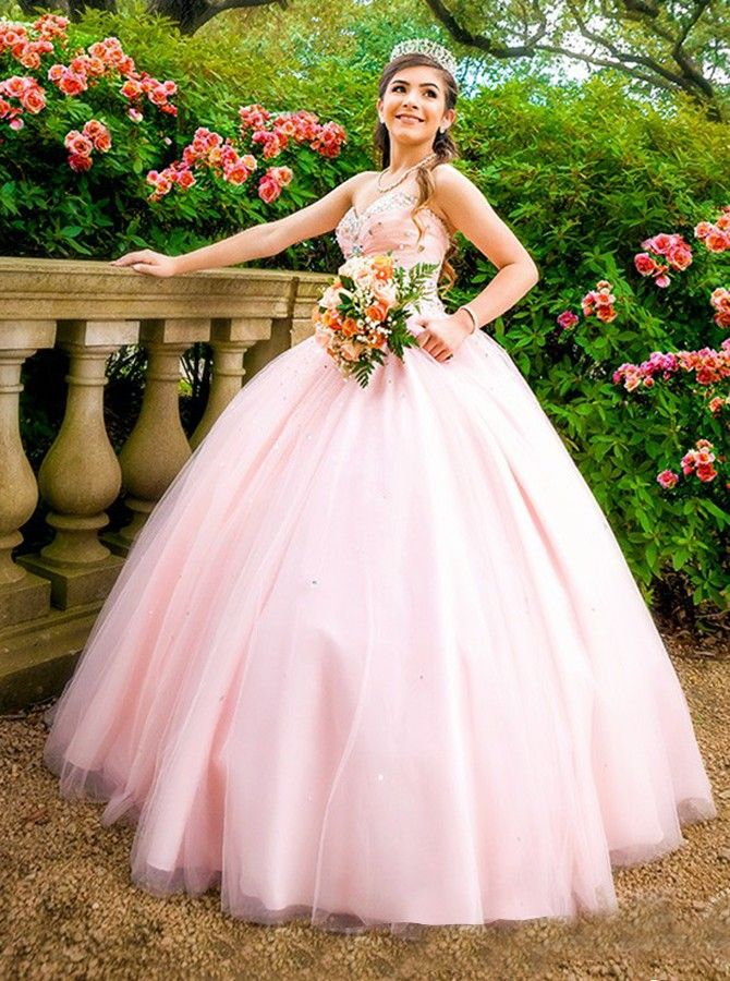 Ball Gown Sweetheart Floor-Length Pearl Pink Tulle Beaded Quiceanera ...