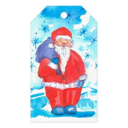 Santa Claus Merry Christmas Gift Tags - drawing sketch design graphic draw personalize