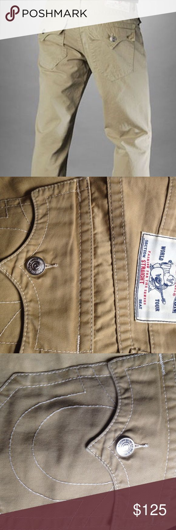 🔴SALE🔴Authentic Men's True Religion Pant NWOT. Bought these beauties at Nordstroms for my boyfriend & he wore them once & got on a gym grind so they no longer fit. Beige Pant with white stitching. *at lowest price True Religion Pants Chinos & Khakis