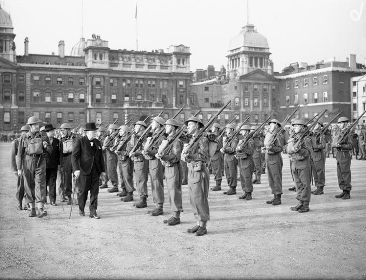 Churchill inspects the Admiralty Company of the Home Guard.