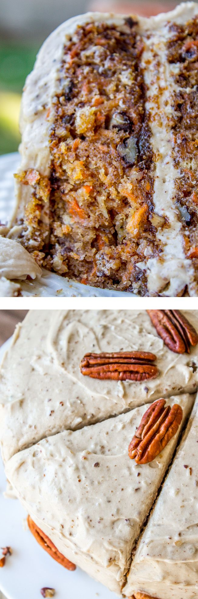 This irresistible carrot cake is covered with a thick layer of cream cheese maple pecan frosting! Crushed pineapple makes it super moist. from The Food Charlatan.